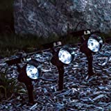 Set of 3 Solar Landscape Spot Lights - 3 LED
