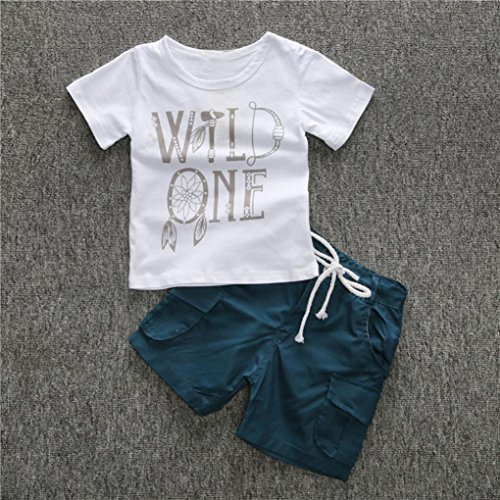 Toddler Kids Baby Boy Bow Dreamcatcher Tops + Pants Outfits Set (2T)