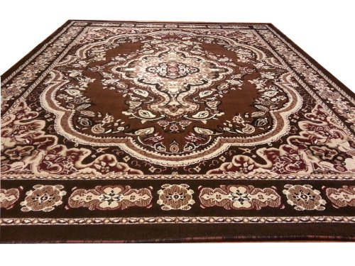 E520 Victorian Traditional Medallion Plush Brown 5x8 5x8 Actual Size 5'3x7'2 P59.jpg
