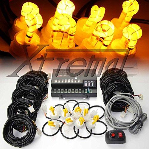 Xtreme® 160W 8 Yellow(Amber) Hid Bulbs Hide-A-Way Emergency Hazard Warning Strobe Lights