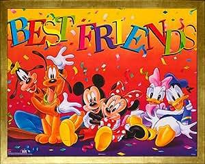 Walt Disney Mickey & Friends: Best Friends. Framed Children's Print Poster. Custom Made Real Wood Modern Scratched Gold Frame (21 1/8 x 17 1/8)