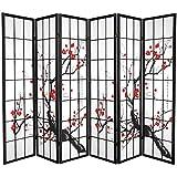 Oriental Furniture Japanese Watercolor Art, 6-Feet Sakura Blossom Shoji Folding Floor Screen Room Divider, Black 6 Panel