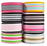 """HipGirl Grosgrain Ribbon Collection Value Pack (40yd(8x5yd) 7/8"""" Preppy Striped Grosgrain Ribbon--Combo--Color May Vary) (a 056)"""