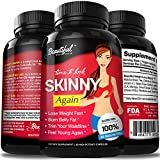 Weight Loss Pills (Skinny Again) Non-GMO, Gluten Free & Vegan | 100% Natural Diet Pills | Proven Appetite Suppressant, Fat Burner, Weight Loss Supplements that Work Fast for Women & Men - 60 Capsules