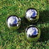 Set of Three 9cm Stainless Steel Mirror Sphere Garden Ornament