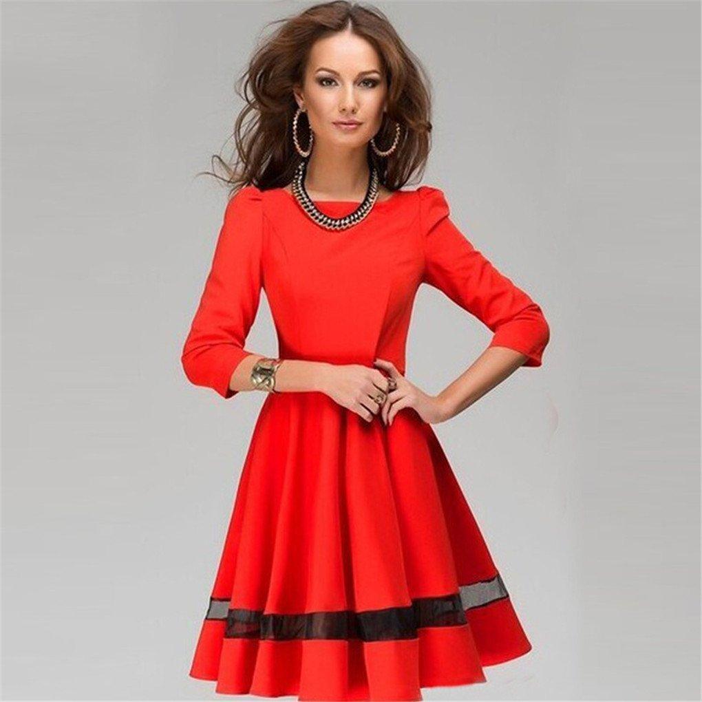 Women Dress,Haoricu Fall Fashion Women Ladies Elegant Solid Long Sleeve Pleated Party Dress 1