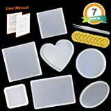LET'S RESIN Silicone Resin Molds 7pcs Resin Casting Molds including Round, Square, Rectangle, Ellipse, Heart Coaster Molds, Epoxy Resin Molds for DIY Coasters, Home Decoration & Christmas Gift