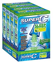 Super C- Sleep - Vitamin & Mineral Drink Mix -key Lime Mint: 7 Count box  (Pack of 4)