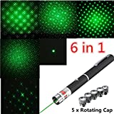6 In 1 5mw 532nm Powerful Green Laser Pointer Pen With 5 Star Cap Heads
