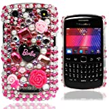 For BlackBerry Curve 9350/9360/9370 Barbie Diamond Flower PLASTIC FRAME Barbie Gemstone Flower HOT PINK Fitted Cases HARD Case Cover - Part of Cooltechstuff Store Accessories