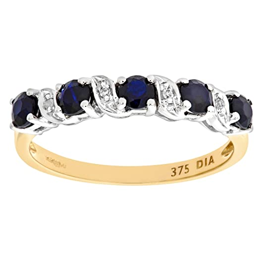 Naava 9ct Yellow Gold Sapphire And Diamond Eternity Ring