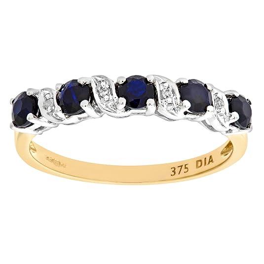 Naava 9ct Yellow Gold Sapphire And Diamond Eternity Ring