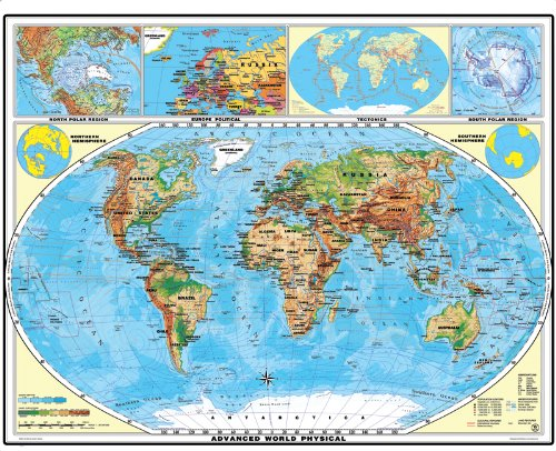 XXL Welt physisch (Europa) (engl.) - Landkarten Papier, gerollt, beidseitig matt antireflexierend extra stark laminiert (reißfest, beschreib- und abwaschbar)