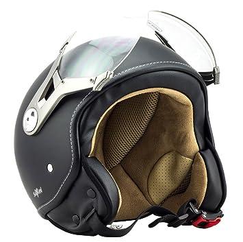 SOXON SP-325 night - noir casque JET moto Cruiser Pilot - Taille: XS S M L XL