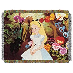 Disney Alice in Wonderland Alice in The Garden Tapestry Throw, 46 by 60