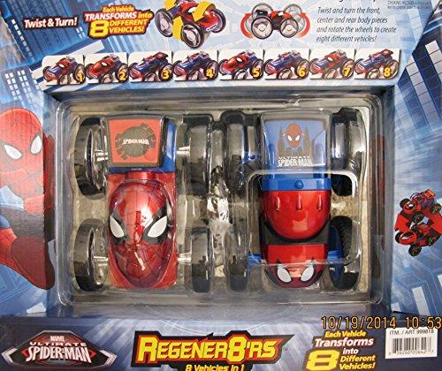 Marvel ULTIMATE SPIDER MAN Regener8ter's 8 in 1 TRANSFORMER VEHICLES Cars w 2 Transforming SPIDERMAN (Mrs Marvel Costume)