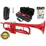 D'Luca 500RD 500 Series Standard Bb Trumpet with Professional Case, Cleaning Kit, Red