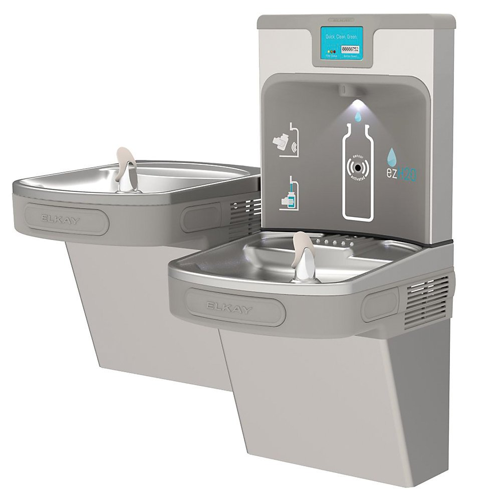 Elkay Ezh2o Next Generation Dual-Level Drinking Fountain With Bottle Filling Station - Light Gray Granite - Light Gray Granite