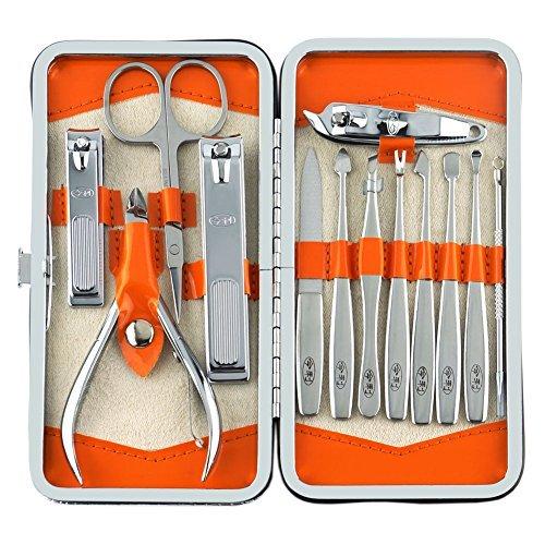 Belle 13 Pièces Acier inoxydable ongles Soins personnels Manucure & Pédicure Set, Kit Voyage & Toilettage avec un style Beauty Wallet / Case