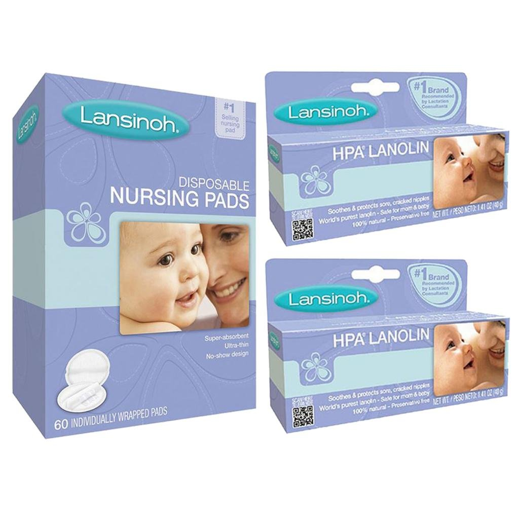 Lansinoh Hpa Lanolin For Breastfeeding Mothers, 40 Grams (Set of 2) with Disposable Nursing Pads