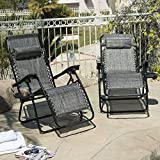 ARKSEN© 2-Pack Zero Gravity Chairs Patio Lounge +Cup Holder/Utility Tray (Gray)