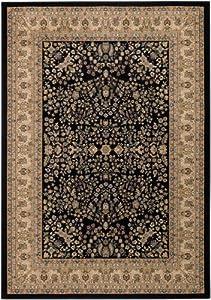 Couristan 7018/0001 Izmir Floral Mashhad 2-Feet by 3-Feet 11-Inch Rug, Ebony