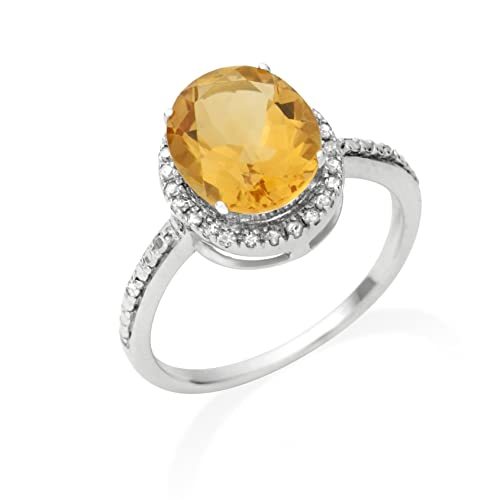 Miore Jm038R11W 9Ct White Gold Ladies Oval - Shaped Citrine & Diamond Ring