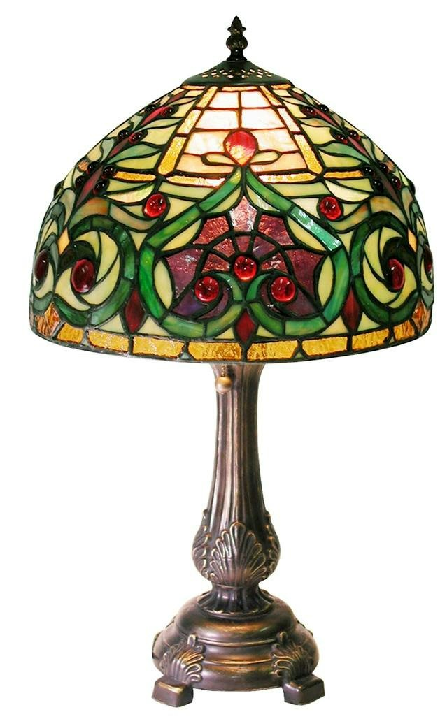 Warehouse of Tiffany 1669-MB163 Tiffany-style Jeweled Petite Table Lamp, Green