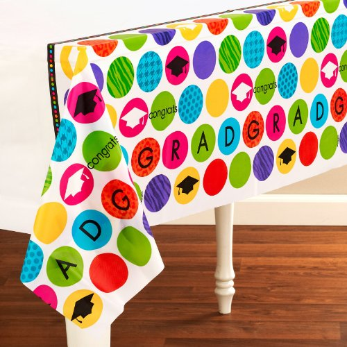 Amscan - Colorful Commencement Graduation Plastic Tablecover - Standard