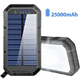 Solar Charger, 25000mAh Battery Solar Power Bank Portable Panel Charger with 36 LEDs and 3 USB Output Ports External Backup Battery for Camping Outdoor for iOS Android (Black) (Color: Black)