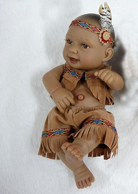 """Terabithia Mini 11"""" Alive Nouveau née bébé Poupées Collectible Native American Indian Garçon"""