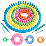 Knitter Looms Set, Plastic Round Knitting Looms Set,Scraf Hat Maker Craft Knit Loom Tools Kit,Knitting Needle and Hook for DIY Use,for Knitting Hat,Bags,Socks and More (B) (Color: B)