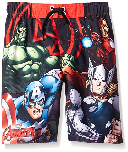 Marvel Boys' Avengers Trunk, Red/Black, 4 (Boys Swim Trunks Marvel compare prices)