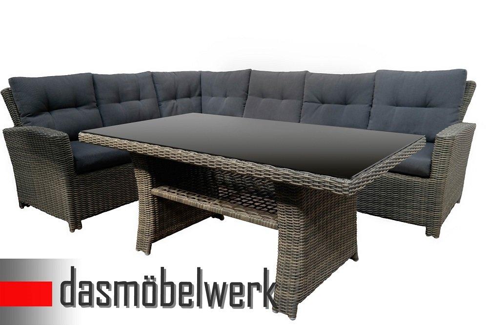 Polyrattan Sitzgarnitur Esstisch Tisch Gartenmöbel Sitzgruppe Terrasse Grau günstig bestellen