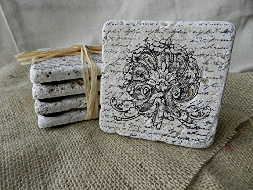"""Hand Made, Artist Designed, Natural Stone Coasters - Vintage """"Ornate Shell And Wave"""" On French Script Background [Set Of 4] - Crafted Of Tumbled Stone, These Hand Made Coasters Feature The Indicated Vintage Artwork On A French Script Background - From Our front-639526"""