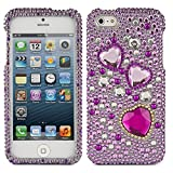 VanGoddy Purple Hearts Rhinestones Full Diamond Back Cover Case For Apple IPhone 5/5S