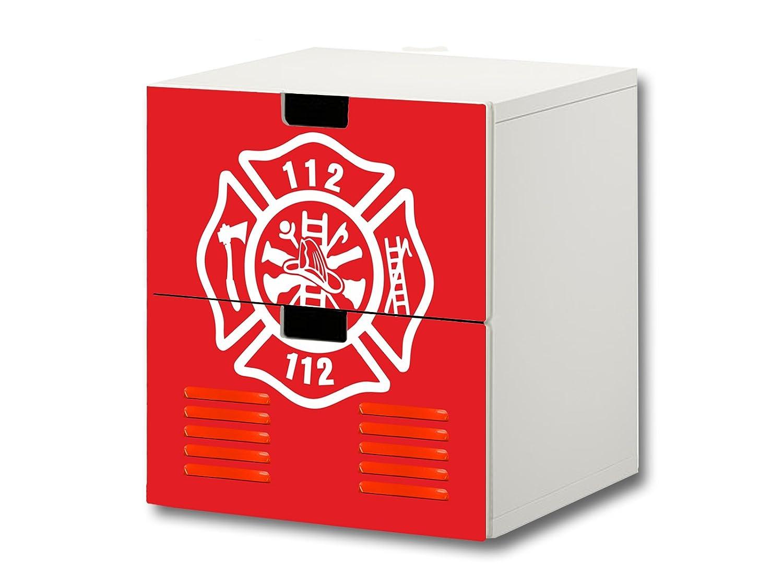 """""""Feuerwehr"""" Möbelsticker / Aufkleber – S2K21 – passend für die Kinderzimmer Kommode mit 2 Fächern / Schubladen STUVA von IKEA – Bestehend aus 2 passgenauen Möbelfolien (Möbel nicht inklusive) günstig"""