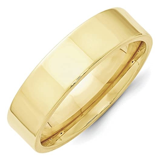 10k Yellow Gold 6mm Standard Flat Comfort Fit Band Ring - Ring Size Options Range: H to Z