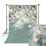 COMOPHOTO Newborn Photography Backdrop 5x7ft Polyester Baby White Flower Photo Backdrops for Studio Pictures Props (Color: White Floral, Tamaño: 5x7ft(150x210cm)-Poly)