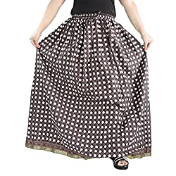 Aura Life Style Cotton Long Skirt (ALSK2118P, Bronze, Free Size)