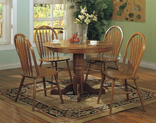 coaster 5pcs country solid oak nostalgia round dining table 4 chairs
