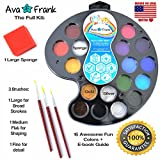 BEST USA SAFE Face Paint Kit for Kids and Professionals Vegan Non-Toxic 16 Color Face and Body Paint Palette GIFT SET - Gold, Silver, Brushes, Sponges. Ultimate Party Pack for 160 Boys and Girls Faces