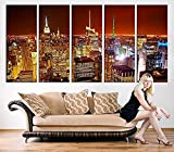 TANDA Large Canvas Print Manhattan New York at Night Panorama Large Wall Art New York Art Reflections New York City Streched Canvas 60 Inch Total