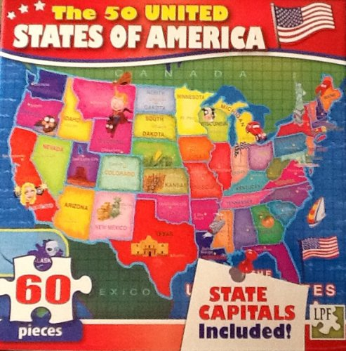 USA Map Includes Capitals - 69 Piece Jigsaw Puzzle - Red