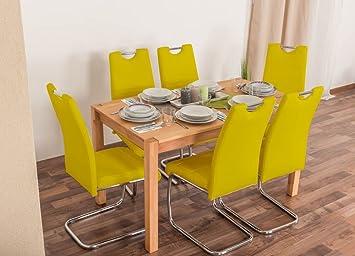 Wooden Nature Esstisch-Set 150 inkl. 6 Stuhle (gelb), Buche Massivholz - 135 x 75 (L x B)