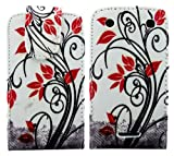 MobileExplosion Cream Floral Flower Leather Magnetic Flip Protection Case Cover For - BlackBerry Curve 9380
