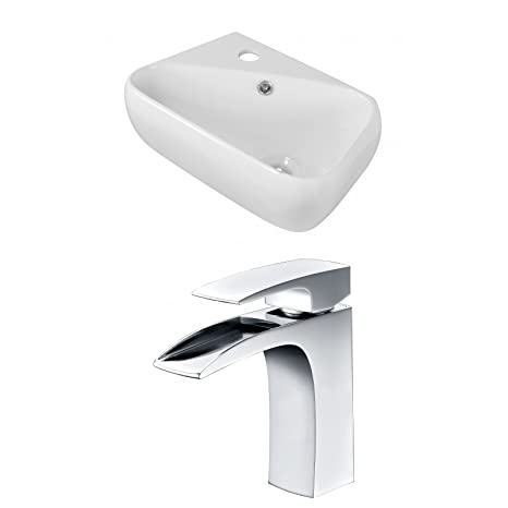 "Jade Bath JB-15292 18"" W x 10.5"" D Rectangle Vessel Set with Single Hole CUPC Faucet, White"