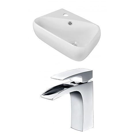 "Jade Bath JB-15292 18"" W x 10.5"" D Rectangle Vessel Set with Single Hole CUPC Faucet, White"