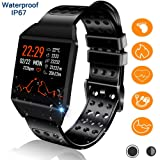 Bluetooth Smart Watch, Fitness Tracker with Heart Rate Monitor Activity Trackers 7 Sport Modes IP67 Waterproof Sleep Monitor Steps Calories Counter Compatible with Android iOS for Women Men (Color: black)