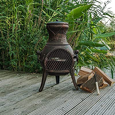 Firefox Chimineas - Pulsar 100 Cast Iron Chiminea - Bronze - 75cm 30 X 40cm 16 H X Dia from Firefox Chimineas